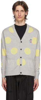MAISON KITSUNÉ Grey Wool Dots ACIDE Fox Patch Cardigan