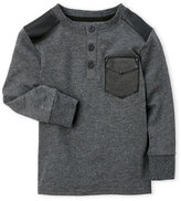 kardashian kids (Boys 4-7) Faux Leather Trim Henley Shirt