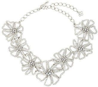 Oscar de la Renta Flower-Chain Crystal Necklace