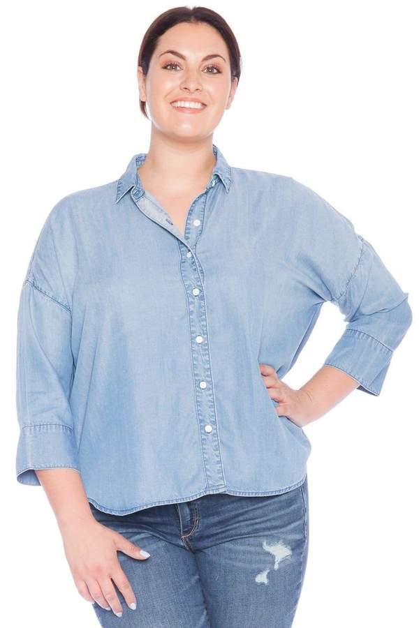 a43da776899e64 Oversize Women Blue Jean Shirt Top - ShopStyle