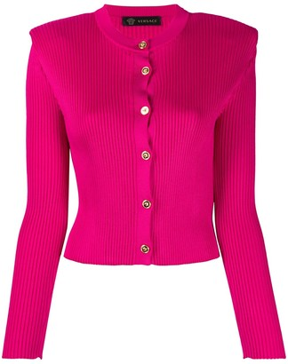 Versace Cropped Ribbed Cardigan