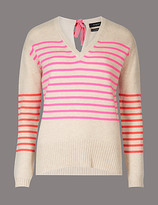 Autograph Pure Cashmere Striped Bow Back V-Neck Jumper
