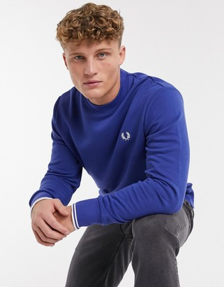 Fred Perry crew neck sweatshirt in nautical blue
