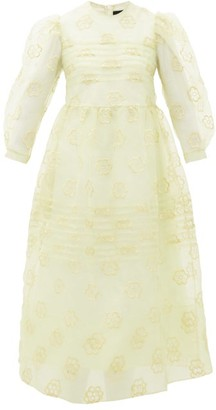 Simone Rocha Puff-sleeved Floral-embroidered Organza Dress - Green