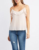 Charlotte Russe Ruffle-Trim V-Neck Tank Top