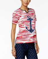 Alfred Dunner Petite Lady Liberty Striped Anchor Top