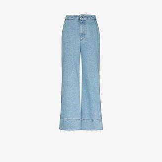 Loewe High Waist Logo Flared Jeans