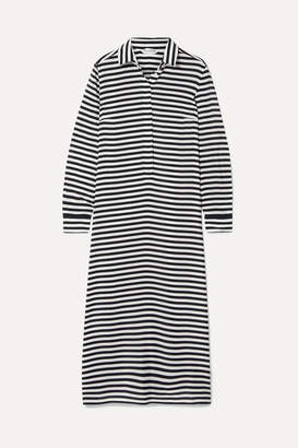 Max Mara Striped Silk-chiffon Midi Dress - Black