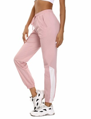 Aiboria Womens Jogger Pants Cotton Ladies Trousers with Pockets for Running Workout Gym Tracksuit Bottom Light Pink