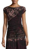 Fuzzi Cap-Sleeve Floral Lace-Print Top, Black/Pink