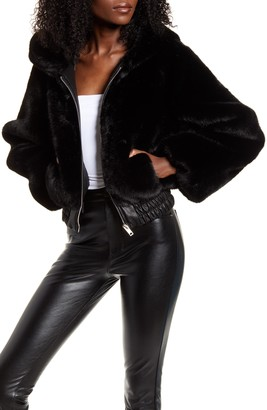 I.AM.GIA Hooded Crop Faux Fur Jacket