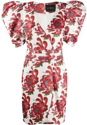 John Richmond Floral Balloon Sleeve Mini Dress