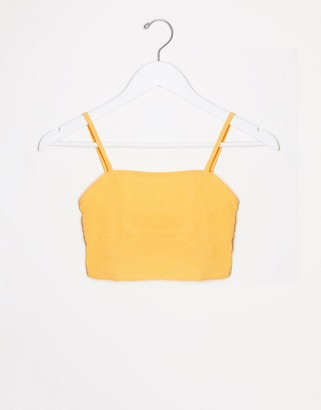 Asos DESIGN fuller bust mix and match simple square neck crop beach top in pastel orange crinkle
