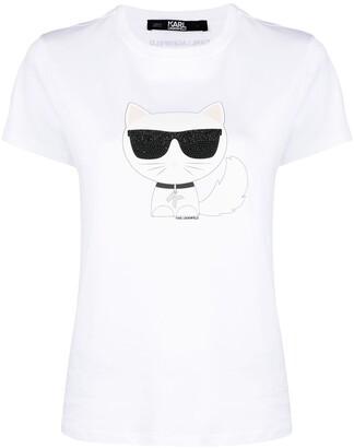 Karl Lagerfeld Paris embellished cat print T-shirt