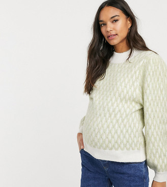ASOS DESIGN Maternity grid stich pattern sweater in recycled blend