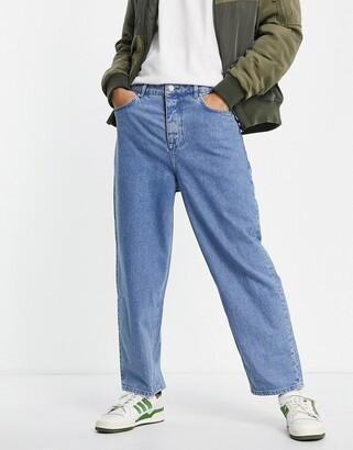 ASOS DESIGN barrel jeans in mid blue