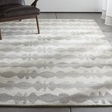 Crate & Barrel Graphite Neutral Striped Wool Rug