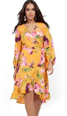 New York & Co. Orange Floral Wrap Dress