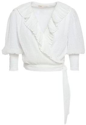 Maje Ruffle-trimmed Fil Coupe Georgette Wrap Blouse