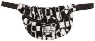 Ashley Williams Black and White Checked Flower Belt Bag