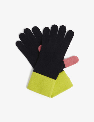 Chinti and Parker Cashmere-Blend Colour-Block Gloves
