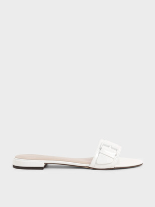 Charles & Keith Buckle Strap Patent Slide Sandals