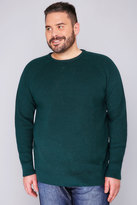 Yours Clothing BadRhino Green Crew Neck Rib Chunky Knit Jumper