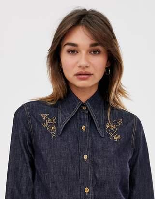 Vivienne Westwood embroidered collar denim western shirt-Blue