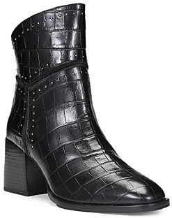 Donald J Pliner Women's Studded Trim Croc Embossed Leather Booties