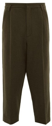 Raey Exaggerated Tapered-leg Boiled-wool Trousers - Green