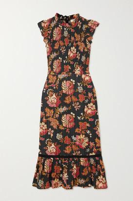 Sea Pascale Ruffled Shirred Floral-print Cotton-voile Midi Dress - Black