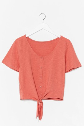 Nasty Gal Womens Nothin' Button Love Tie Cropped Tee - Rust