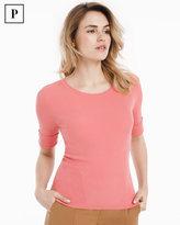 White House Black Market Petite Short Sleeve Ribbed Jewel Neck Sweater