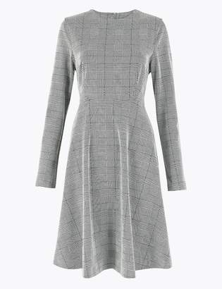 Marks and Spencer Ponte Checked Fit & Flare Dress