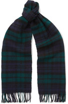 Drakes Drake's - Easyday Black Watch Checked Wool Scarf - Green
