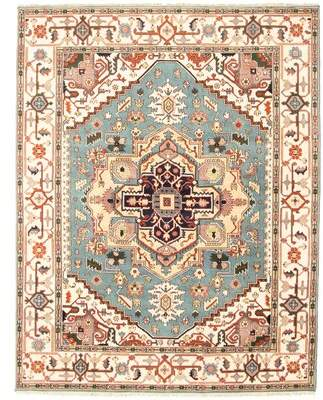 Blue & Cream World Menagerie Rollox Hand-Knotted Wool Light Blue/Cream Area Rug World Menagerie