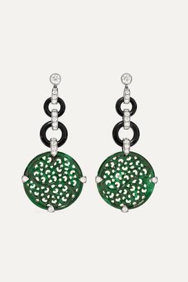 Fred Leighton Contemporary 18-karat White Gold, Jade And Diamond Earrings