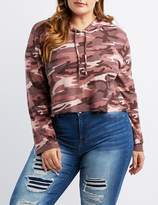 Charlotte Russe Plus Size Camo Cropped Drawstring Hoodie