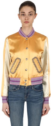 Coach Embellished Satin Varsity Bomber Jacket