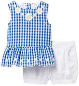 Little Me Gingham Top & Shorts Set (Baby Girls)