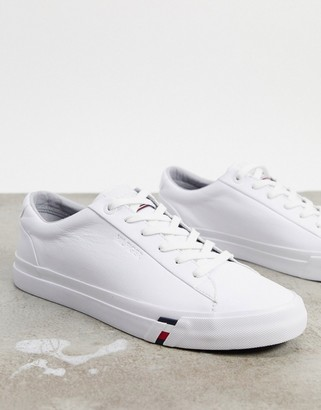 Tommy Hilfiger corporate logo leather trainers in white