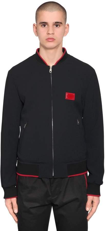 Dolce & Gabbana Tech Viscose Blend Bomber Jacket