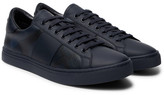 Burberry Checked Leather Sneakers - Navy