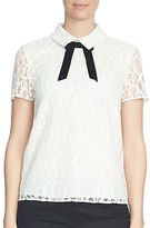 CeCe Solid Lace Short Sleeve Blouse