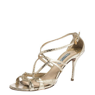 Prada Metallic Gold Snake Embossed Leather Strappy Ankle Strap Sandals Size 37