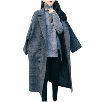 Xmiral Coat Parka Women Checked Turn-Down Collar Double Breasted Long Coat Loose Office Button Elegant Jacket Winter Jacket(Gray S)