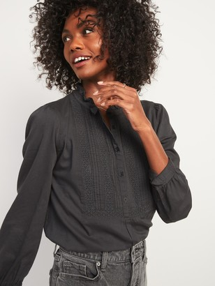 Old Navy Ruffled Pintucked-Yoke Popover Blouse for Women