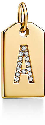 Tiffany & Co. Charms mini alphabet tag charm in 18k gold with diamonds