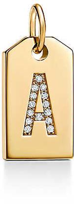 Tiffany & Co. Charms mini alphabet tag charm in 18k gold with diamonds