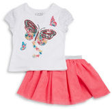 Flapdoodles Girls 2-6x Girls Two-Piece Sequined Top and Skirt Set